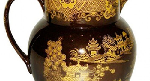Yellow Transfer Printed Brown Ware