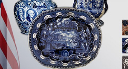 exhibition of British transferware decorated with American themes.