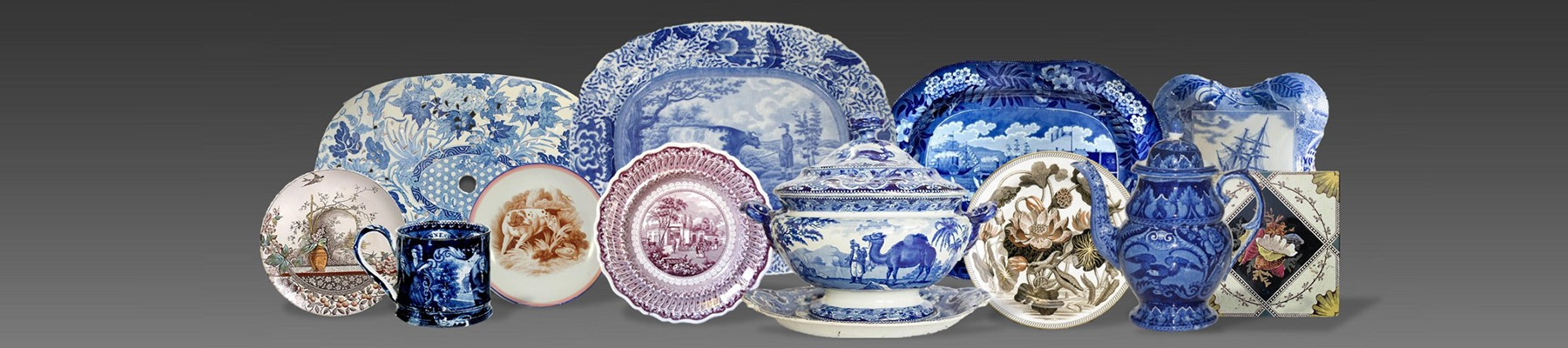 arrangement of items colored and blue transferware