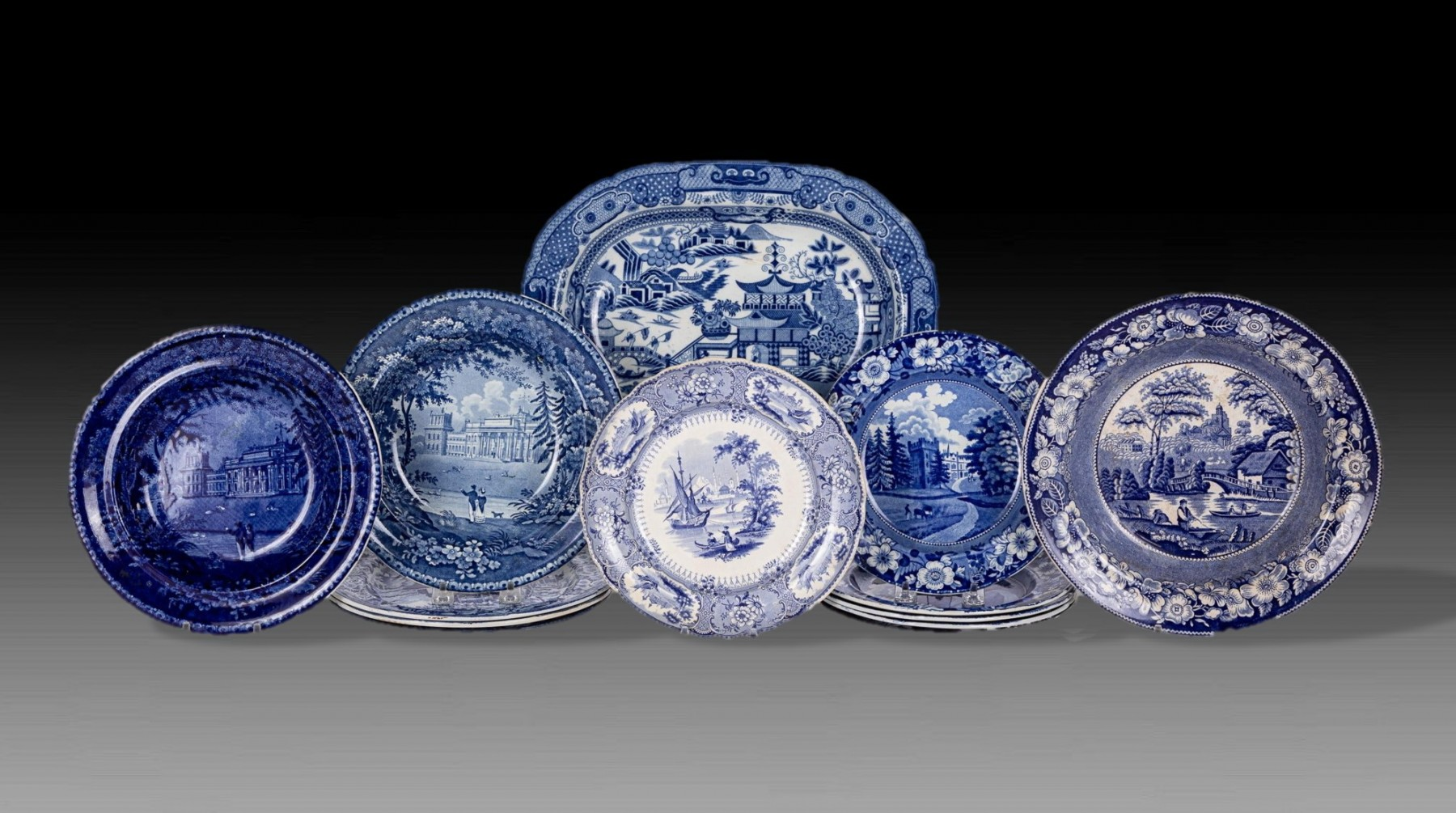 Examples of transfer-printed blue and white ceramics
