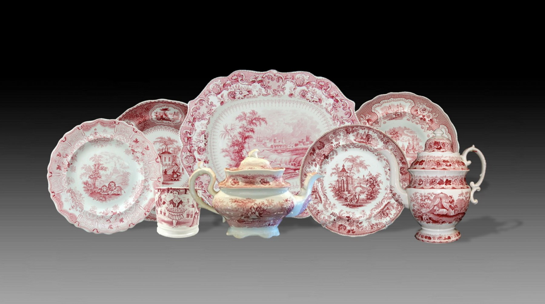 Grouping of Red Transferware
