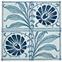 Quartered Blue Flowers and Leaves Tile