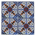 Red Flowers and Blue Urns Tile