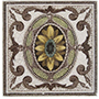 Framed Oval Center Flower Tile