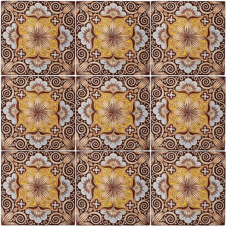 Aesthetic Flowers And Scrolls 9 tiles