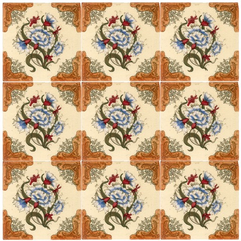 Blue Carnations tile set square